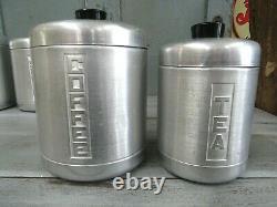 Vintage Kitchen 4 Century Aluminum Ware USA Tea Coffee Sugar Flour Canister Set