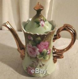Vintage Lefton China, Heritage Green Pink Roses Coffee Set Hand Painted 19 Piece