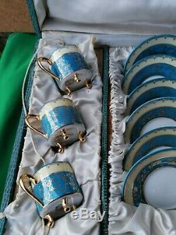 Vintage Limoges France Coffee Set 6 Cups + 6 Saucers Boxed