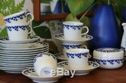 Vintage MCM Rörstrand Swedish Blue Carl Stålhane Coffee Set +Bowl +Milk Jug