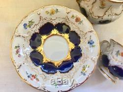 Vintage Meissen 15PC cobalt blue&gold floral coffee porcelain service set