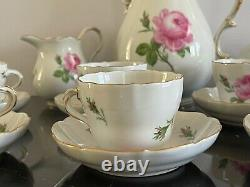 Vintage Meissen Coffee Set Decorated with Pink Roses and Scattered Buds