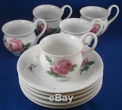 Vintage Meissen Porcelain Pink Rose Chocolate / Coffee Set Porzellan Service