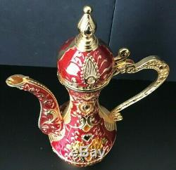 Vintage Middle Eastern / Moroccan Enameled Tea Or Coffee Set