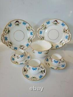 Vintage Minton Tea Coffee Set, butterfly and turquoise ribbon bow