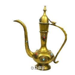 Vintage Moorish Style Brass Coffee Ewer Set Turquoise & Carnelian Inlaid Stones