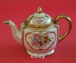 Vintage Noritake Tea/Coffee Pot Set Cups Saucers Pink Roses Gold Encrusted