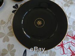 Vintage Norwegian Rare Porsgrund Black & Gold Coffee Set, Plates etc (42 Pieces)