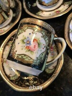 Vintage Occupied Japan Oritake Handpainted Jeweled Coffee Chocolate Set