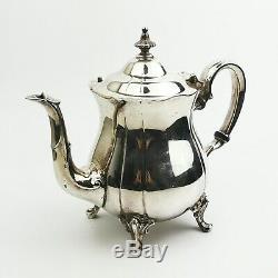 Vintage Pilgrim Silverplate 4 Piece Tea & Coffee Set & Decorative Metal Tray