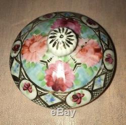 Vintage Porcelain Chocolate Tea Coffee Set Pink Flowers Gold Trim 13 Pieces