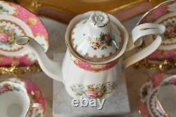 Vintage Porcelain Royal Albert Lady Carlyle Coffee Set Bone China England For 2