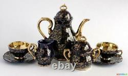 Vintage Porcelain Set Coffee Pot Creamer Bowl Saucer Cup Gilding Echt Kobal 1968