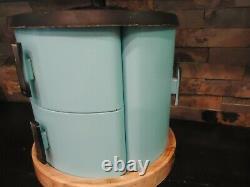 Vintage Rare Blue Kitchen Tin Canister Set-flour Sugar-coffee-tea-1950's-round