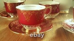 Vintage Red&Gold COLLINGWOOD Bone China Coffee Set Est 1796 Marble Arch LONDON