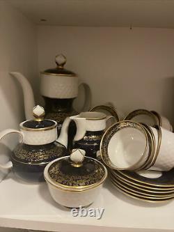 Vintage Reichenbach White Porcelain with 22K Gold Royal Blue Tea/coffee Set