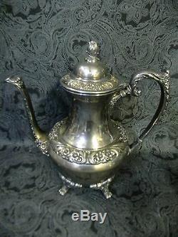 Vintage Rogers Bros. Heritage 1847 Silverplate Ornate 3 Piece Coffee/Tea Set
