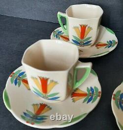 Vintage Royal Doulton 1930's Demitasse Coffee Set Porcelain Mecca 5103 Art Deco