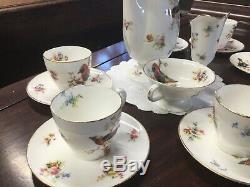 Vintage Royal Doulton Exotic Birds Coffee Set Vgc