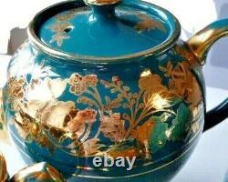 Vintage Sadler Coffee Tea Porcelain Set Turquoise Gold Glazed 6 Pieces