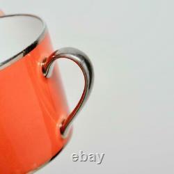 Vintage Set Of 8 Legle Porcelaine D'art Limoges Coral Coffee Cups & Saucers