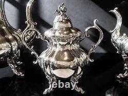 Vintage Silver Plate Coffee Tea Set Service 4 Piece Set Reed Barton Winthrop