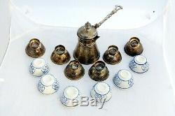 Vintage Solid Silver Islamic Syrian Coffee Set 6 Silver Porcelain Cups 1 Cezve