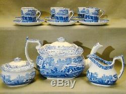 Vintage Spode Italian Blue Transfer Tea Coffee Set for Six 15 Pieces 1970+