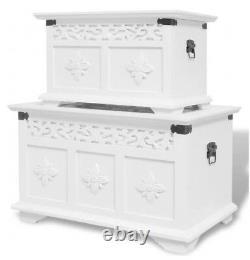 Vintage Storage Chest Set Coffee Side End Tables Wooden Trunk Case Box Antique