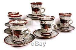 Vintage Studio Art Pottery Coffee Set of 6 Cups and Saucers 20th Century Marr