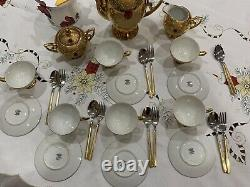 Vintage Stunning Made In Italy 22 K Gold With a Red Stone Coffee Set. Gorgeous