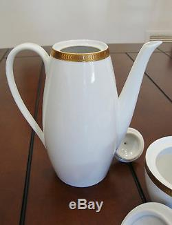 Vintage Verbano Industria Argentina Porcelain Coffee Set 19 Pieces Gold Trim
