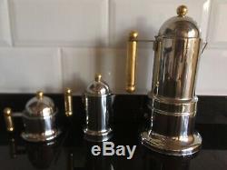 Vintage Vev Vigano Italian Stainless Steel Kontessa Oro Espresso Coffee Set
