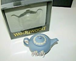 Vintage Wedgewood Jasperware Miniature Blue Tea & Coffee Set In Original Boxes