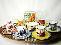 Vintage Wedgwood Clarice Cliff Limited Edition Express Coffee Cups Set Rare