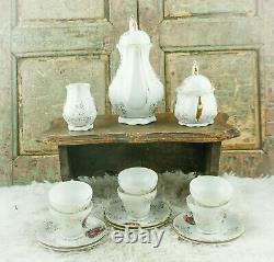 Vintage coffee set Limoges scenery Pot Sugar Creamer Coffee Cups Porcelain