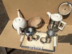 Vintage old Antique Heatmaster Set Tea Coffee Milk Sugar Eggs Tray 1930 art deco