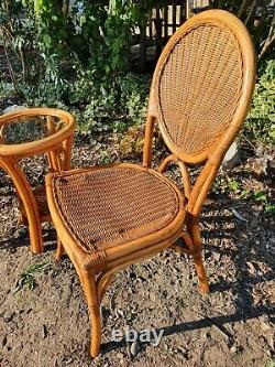 Vintage style Cane Rattan Conservatory Bistro Dining Set Table & Chairs Coffee