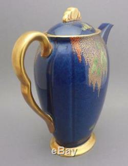 Vtg Carlton Ware Porcelain Storks Demitasse Coffee Tea Set Enamel Gold Blue
