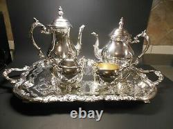 Vtg F. B. Rogers 6-Piece Silver Plate Tea & Coffee Set Large Footed Etched Tray