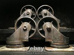 Vtg INDUSTRIAL CASTERS, Kitchen Island Dining Coffee Table Cast Iron Metal Wheel