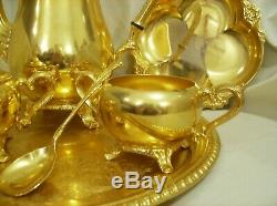 Vtg Int'l Silver Co. Wm Rogers 24kt Gold Plated Coffee Set, 7 Pieces