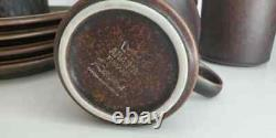 Vtg MCM ARABIA FINLAND RUSKA Brown Speckled 3 1/2 Coffee Cup Mug Saucer Set 4