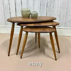 Vtg Set of Mid Century Ercol Pebble Solid Elm Coffee Tables Danish Astro Danish