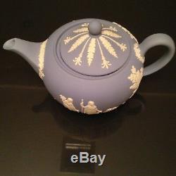 Vtg Wedgwood 4 Pcs Coffee Set Jasperware, Sugar, Creamer & Tray