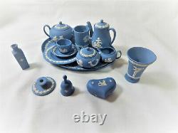 Wedgwood Blue Jasper Miniature Tea Coffee set plus extras Vintage