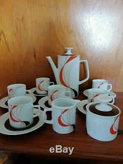 Winterling Marktleuthen Bavaria vintage coffee set, Dark Orange, black & White