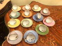 13 Tasses Vintage 13 Soucoupe Danoise Bing & Grondahl Copenhagen Porcelain Coffee Set