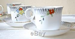 18 Set De Café À Thé Pcs. Porcelaine Anglaise. Vintage Art Déco