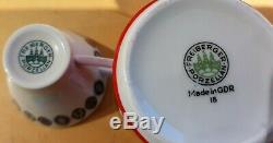 1950 Vintage Café Set 50s Siècle Rouge Blanc MID Porcelaine Set Atomi